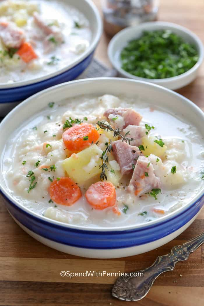 Easy Ham and Potato Soup in the Crock Pot