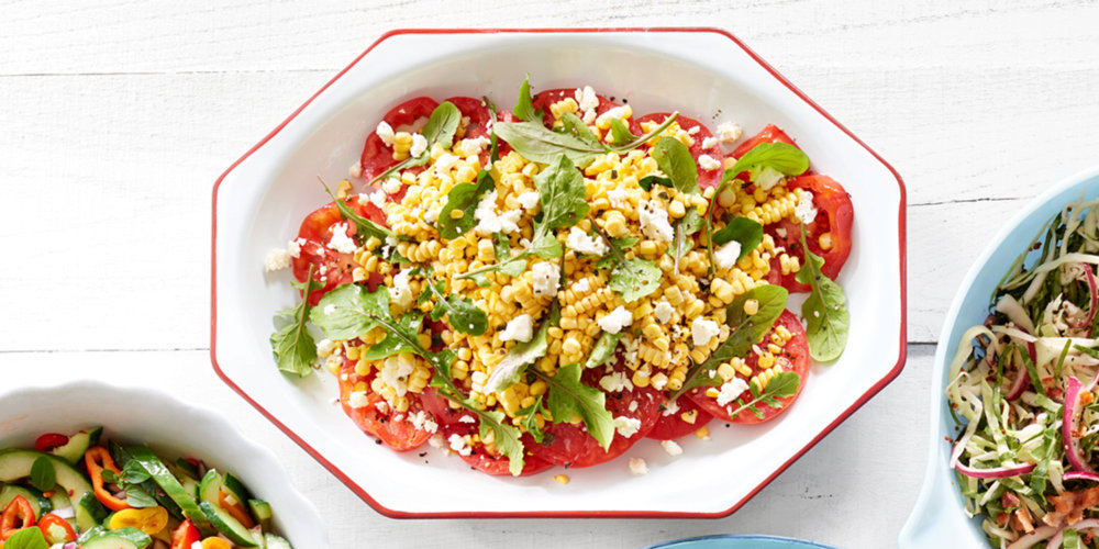 Sliced Tomatoes with Corn and Feta