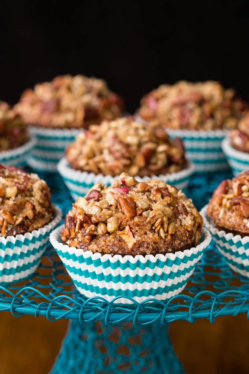 Morning Glory Muffins with Candied Pecan Topping