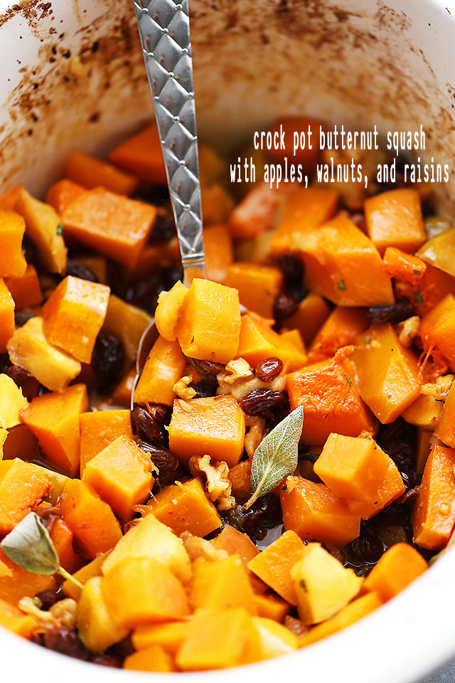 Crock Pot Butternut Squash with Apples, Walnuts and Raisins