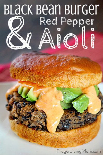 Black Bean Burger with Red Pepper Aioli