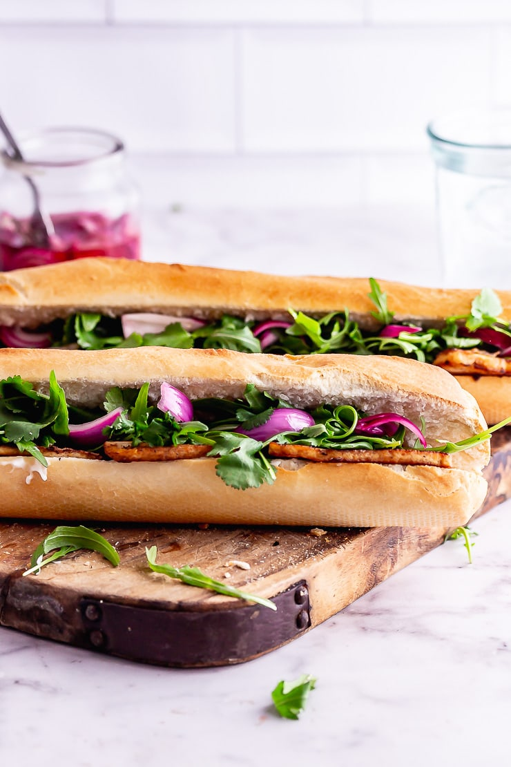 Spicy Tofu Sandwich with Pink Pickled Onions