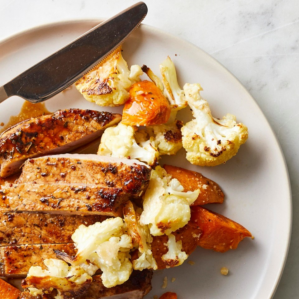 Roasted Sweet Potatoes & Cauliflower