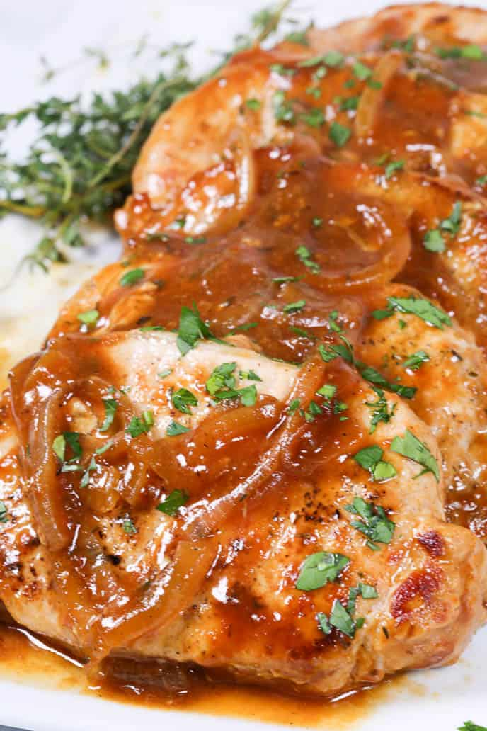 Pan Seared Pork Chops with Beer